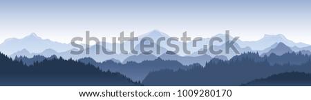 Sunset in mountains vector illustration Stock photo © barsrsind