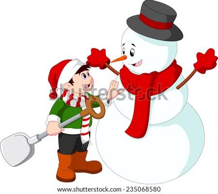 Cute garçon rouge hiver vêtements bonhomme de neige Photo stock © galitskaya
