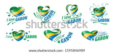The national flag of the Gabon and the inscription I love Gabon. Vector illustration Stock photo © butenkow