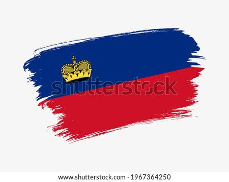 liechtenstein flag and hand on white background. Vector illustration Stock photo © butenkow