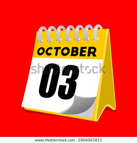 Simple black calendar icon with 3 october date isolated on white Stock photo © evgeny89