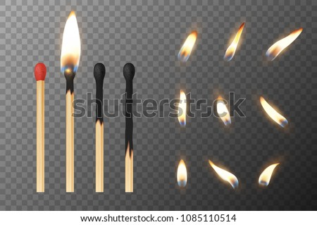 Realistic matches with fire flames on different burning stages Stock photo © evgeny89