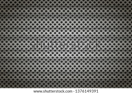 Glossy metal grid with round holes on black, detailed background Stock photo © evgeny89