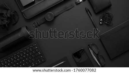 Business concept. Flat lay composition with various black gadgets on dark black surface Stock photo © dash