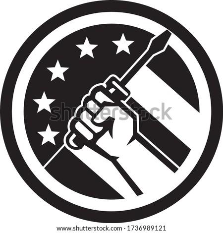 Mão chave de fenda retro ícone Foto stock © patrimonio