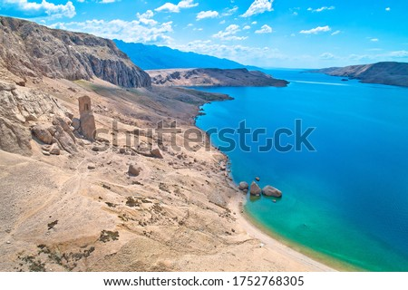 Metajna, island of Pag. Famous Beritnica beach in stone desert a Stock photo © xbrchx