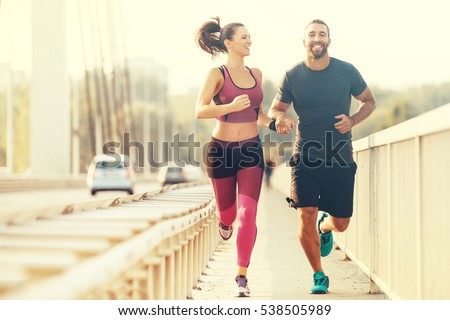 Gelukkig paar lopers wonen geschikt actief Stockfoto © Maridav
