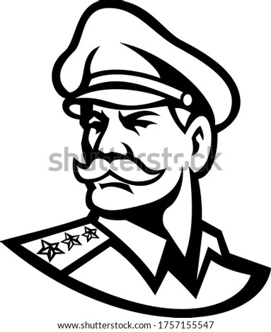 Head of an American Three-Star General Mascot Black and White Stock photo © patrimonio