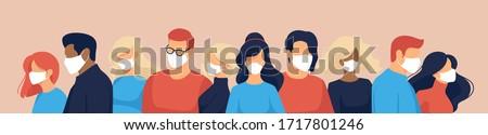 Conjunto ilustrações multidão pessoas cara médico Foto stock © robuart