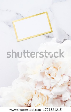 Glamorous business card or invitation mockup and bouquet of peony flowers, wedding and event brandin Stock photo © Anneleven