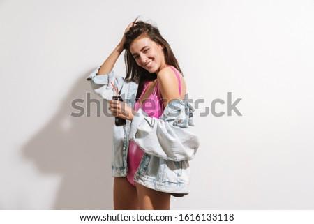 Image jeunes brunette femme maillot de bain Photo stock © deandrobot