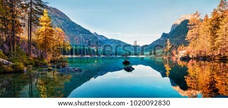 spadek · lasu · jezioro · jesienią · dramatyczny · niebo - zdjęcia stock © elenaphoto