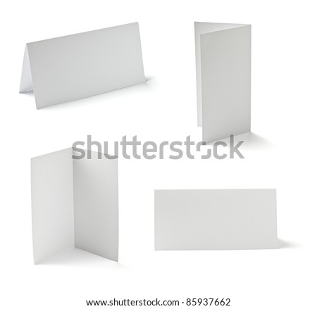 collection of various blank folded leaflet white paper on white Stock photo © Zhukow