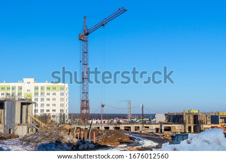 Balanced Towr Construction Crane Installed Foundation Building A Stock photo © cboswell