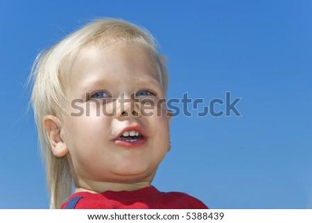 portret · knap · jongen · blauwe · hemel · hemel - stockfoto © meinzahn
