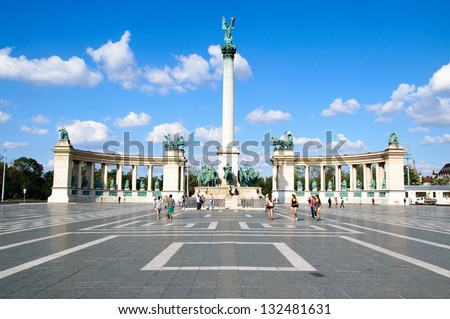 Heroes square in Budapest, a square dedicated to the hungarian k Stock photo © bloodua