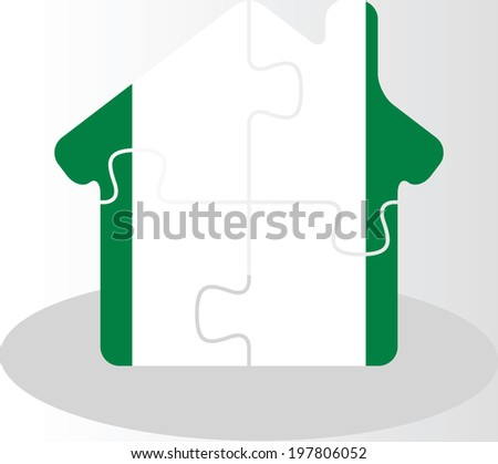 house home icon with Nigerian flag in puzzle isolated on white b Stock photo © Istanbul2009