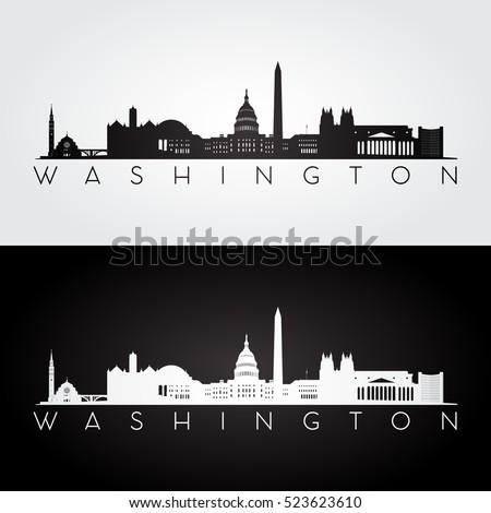 Washington ufuk çizgisi ev bayrak siyah beyaz Stok fotoğraf © compuinfoto