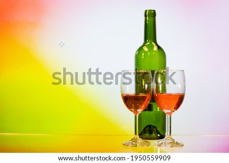 two glasses of champagne and yellow rose isolated on white backg stock photo © tetkoren