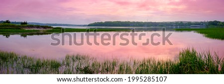 Summer landscape with the beautiful marsh in the bay and mountai Stock photo © Kotenko
