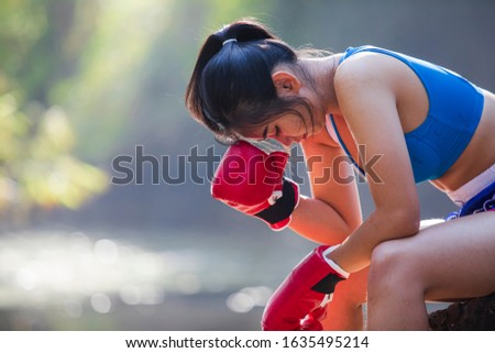 疲れ 女性 ボクサー 座って リング フィットネス ストックフォト © wavebreak_media