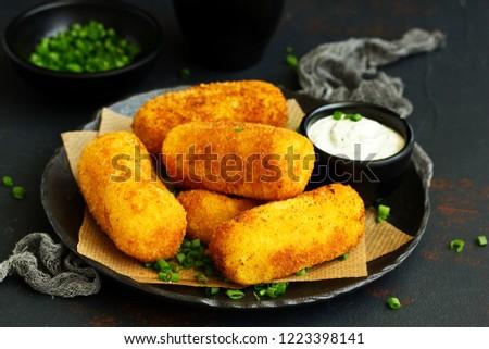 golden potato croquettes Stock photo © zkruger