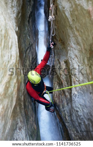 Canyoning in Gorgonchon Canyon, Spain. Stock photo © pedrosala
