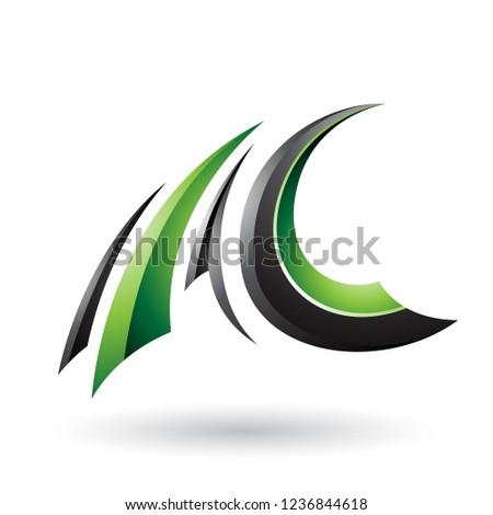 siyah · yeşil · parlak · uçan · c · harfi · vektör - stok fotoğraf © cidepix