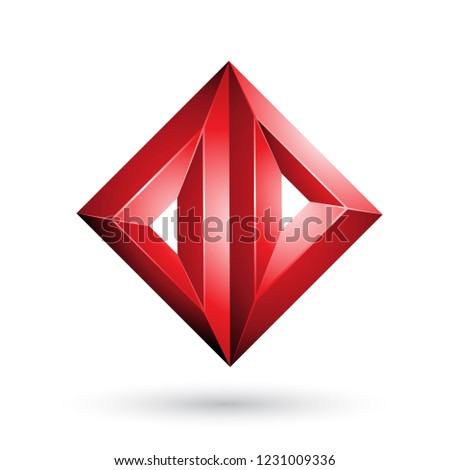 red 3d geometrical embossed triangle diamond shape vector illust stock photo © cidepix
