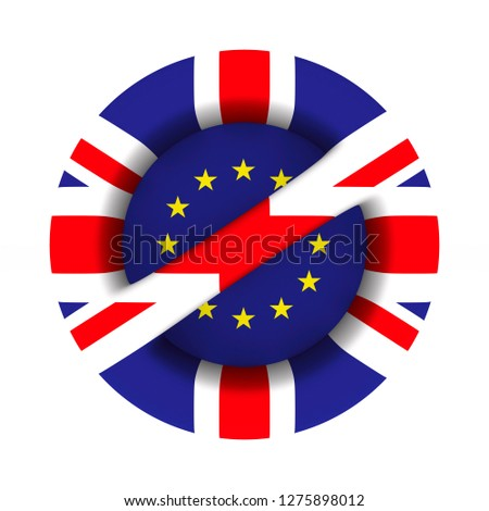 flag EU and  Great Britain and sign forbidden on white backgroun Stock photo © ISerg