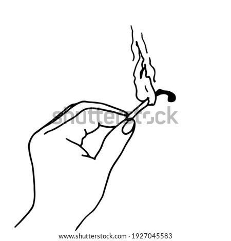 Hand Holding Burning Matchstick Drawing Stock photo © patrimonio