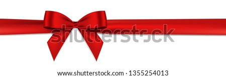 Stock photo: Realistic red bow and ribbon. Element for decoration gifts, greetings, holidays. Vector illustration