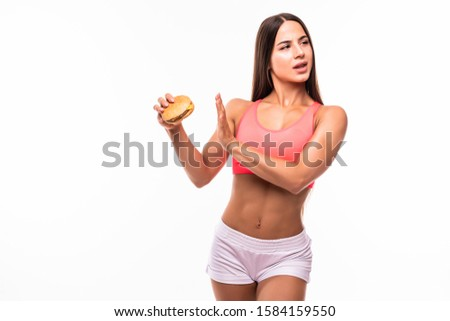 Image of european overweight woman in tracksuit doing stop gestu Stock photo © deandrobot