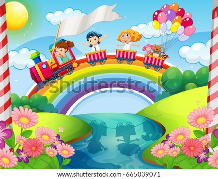Children riding on balloon over the park Stock photo © colematt