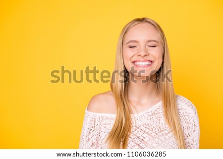portrait of a wishful blonde woman stock photo © deandrobot