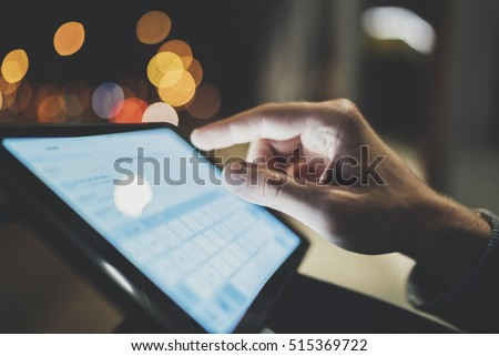 Hand using tablet with online concept Stock photo © ra2studio