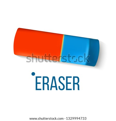 eraser stationery vector blue orange mistake fix education design classic rubber realistic isola stock photo © pikepicture