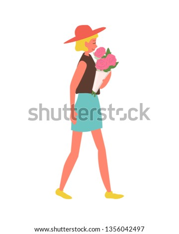 Blond Woman Walking with Roses in Paper Wrapping Stock photo © robuart