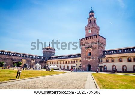 kasteel · milaan · Italië · hemel · boom · gebouw - stockfoto © boggy