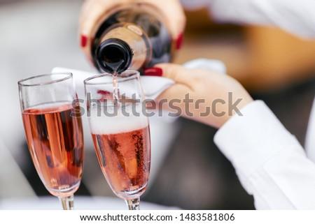 wzrosła · szampana · odizolowany · biały · żywności · okulary - zdjęcia stock © karandaev