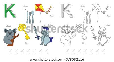 letter K worksheet with cartoon key Stock photo © izakowski