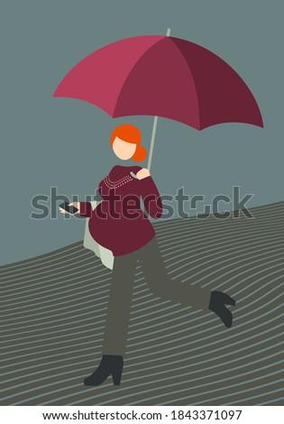 Zwangere vrouw straat paraplu vrouw familie hand Stockfoto © Lopolo