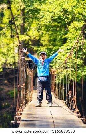 радостный мальчика висячий мост устрашающий Adventure Сток-фото © galitskaya