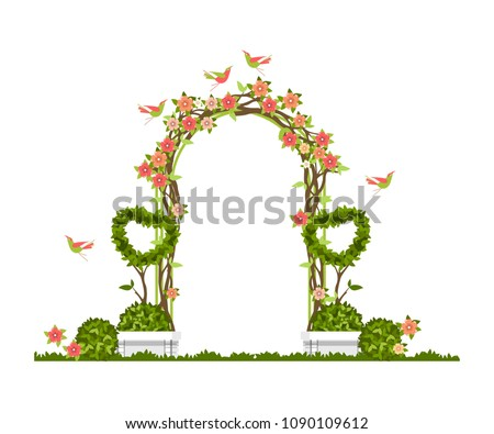 Foto d'archivio: Wedding · arch · sedie · erba · verde · cerimonia · decorazione
