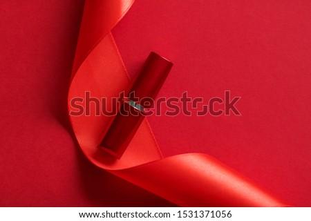 Luxo batom seda fita vermelho férias Foto stock © Anneleven