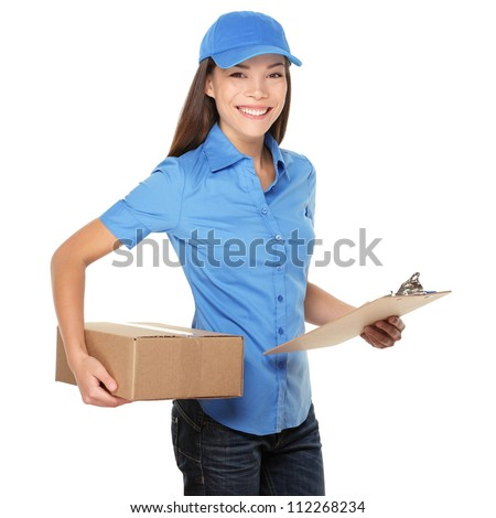 Delivery person delivering packages holding clipboard and packag Stock photo © Lopolo