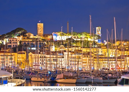 Cannes. Old town of Cannes and sailing harbor evening view, Fren Stock photo © xbrchx
