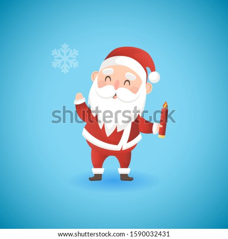 Festive Christmas funny Santa Claus holding candle, vector illustration. Stock photo © MarySan