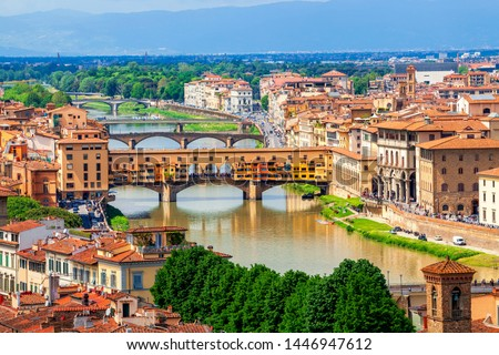 View of stone bridge over Arno river in Florence, Tuscany, Italy Stock photo © Zhukow