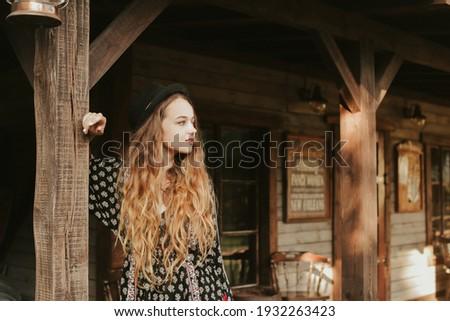 Lány vörös haj utca falu sütőtök termény Stock fotó © ElenaBatkova
